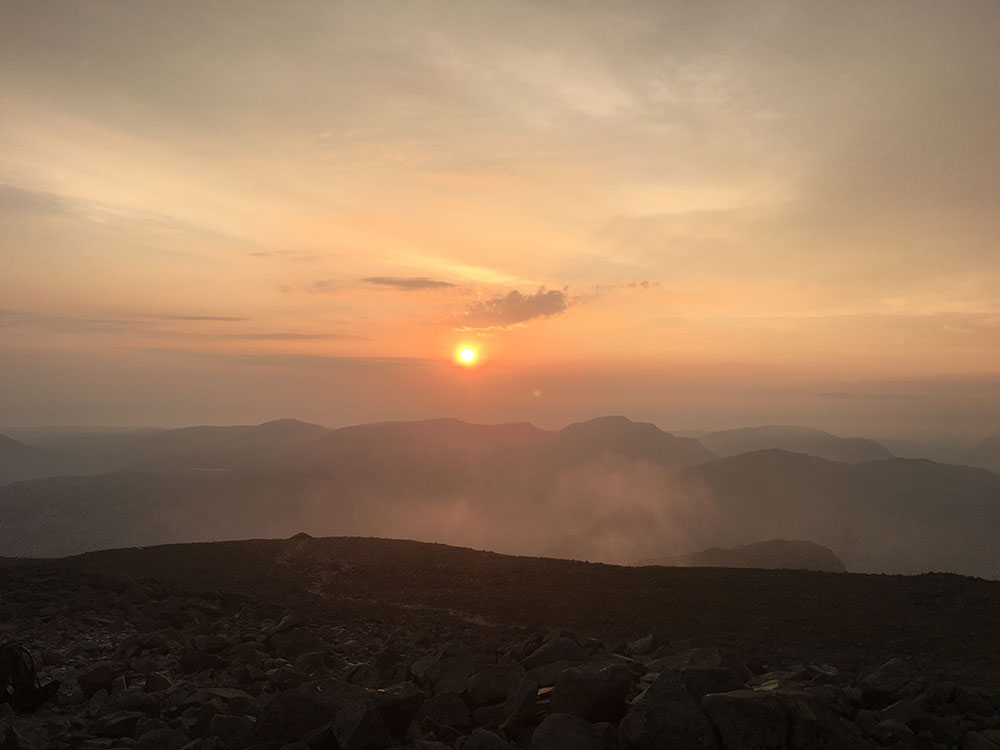 View from Scafell Pike at sunrise