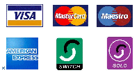 We happily accept payments by Visa, Mastercard, Maestro, AmEx, Switch and Solo