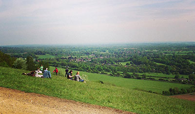 From the viewpoint on Box Hill, on the Surrey Three Peaks