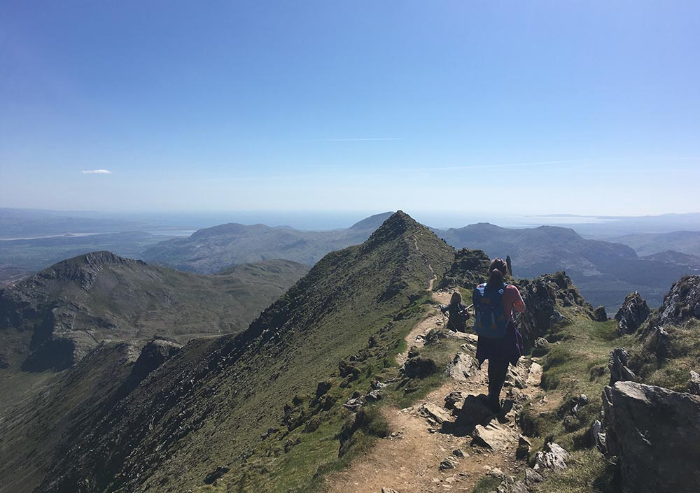 Making the descent of Snowdon via the South Ridge, on the Welsh Three Peaks